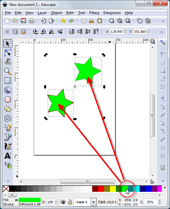 Inkscape Coloring Multiple Objects