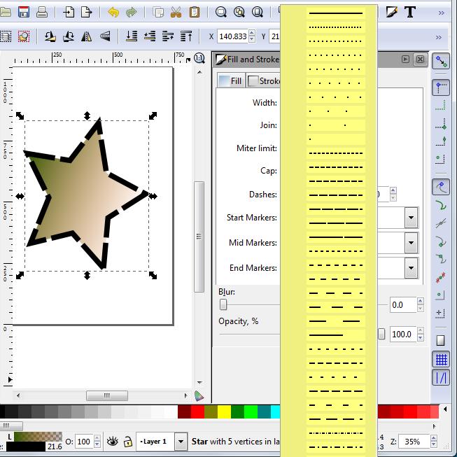 Inkscape STROKE STYLES
