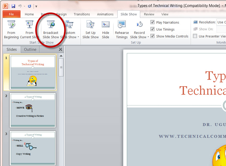 MS PowerPoint 2010 Broadcast Slide Show