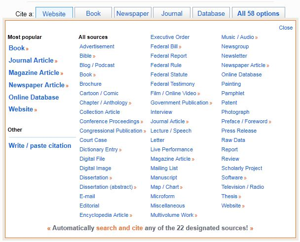 EasyBIB Automatic Bibliography and Citation Maker