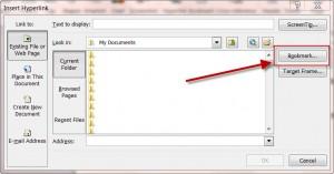 MS Word Insert Hyperlink Bookmark Button