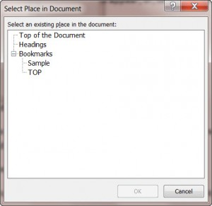 MS Word Select Place in the Document