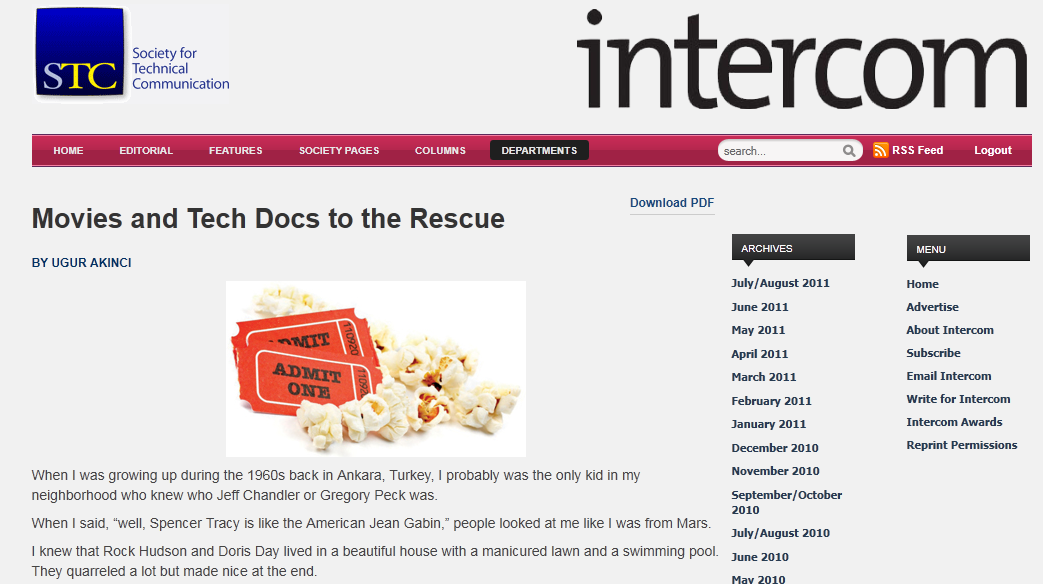 """My STC INTERCOM article about """"Movies and Tech Docs""""…"""