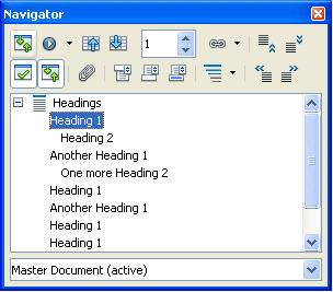 How to Navigate an OpenOffice Writer Master Document by Headings