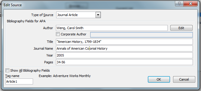 MS Word 2007 Add Placeholder 4 Edit Source