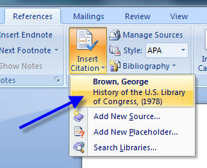 MS Word 2007 Inserting Citation 8