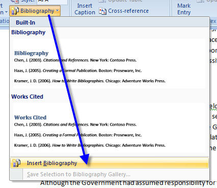 MS Word 2007 Inserting Citation INSERT BIBLIOGRAPHY
