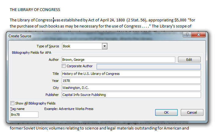 MS Word 2007 Inserting Citation