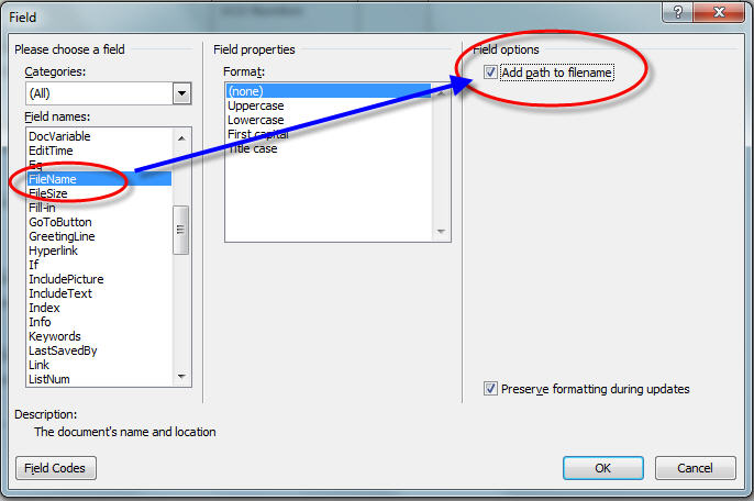 MS Word 2007 Adding Path to Filename