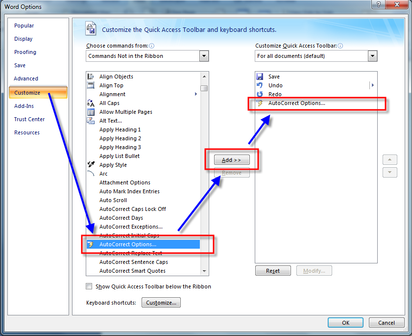 How to Locate and Display AutoCorrect Options in MS Word 2007