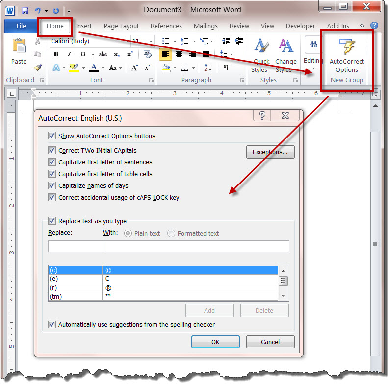 MS Word 2010 AutoCorrect Options on RIBBON