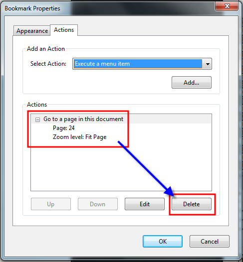 Adobe Acrobat New Bookmark 5 DELETE