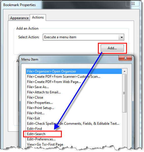 Adobe Acrobat New Bookmark 6 FIND ACTION