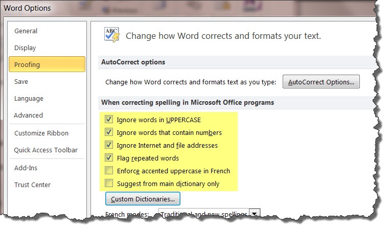 MS Word 2010 Custom Dictionary 5