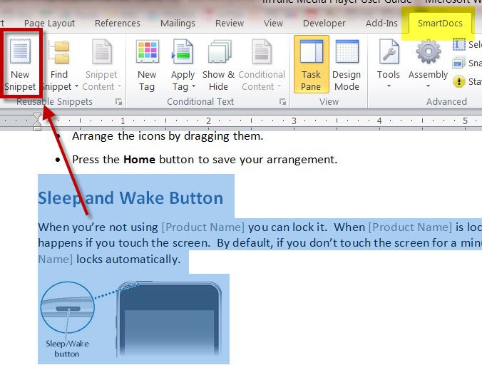 How to Create a Reusable Snippet in a SmartDocs MS Word Technical Document