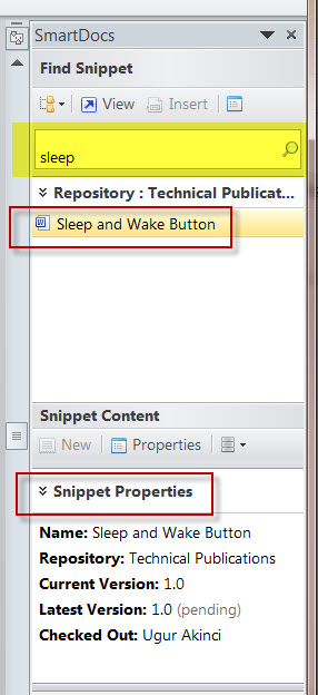 MS Word SMartDocs Creating a Snippet SEARCHING