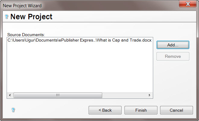 WebWorks ePublisher PRO New Project Wizard 2