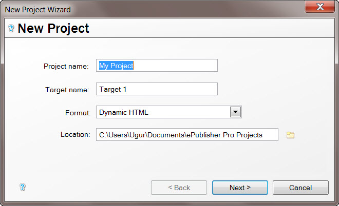WebWorks ePublisher PRO New Project Wizard