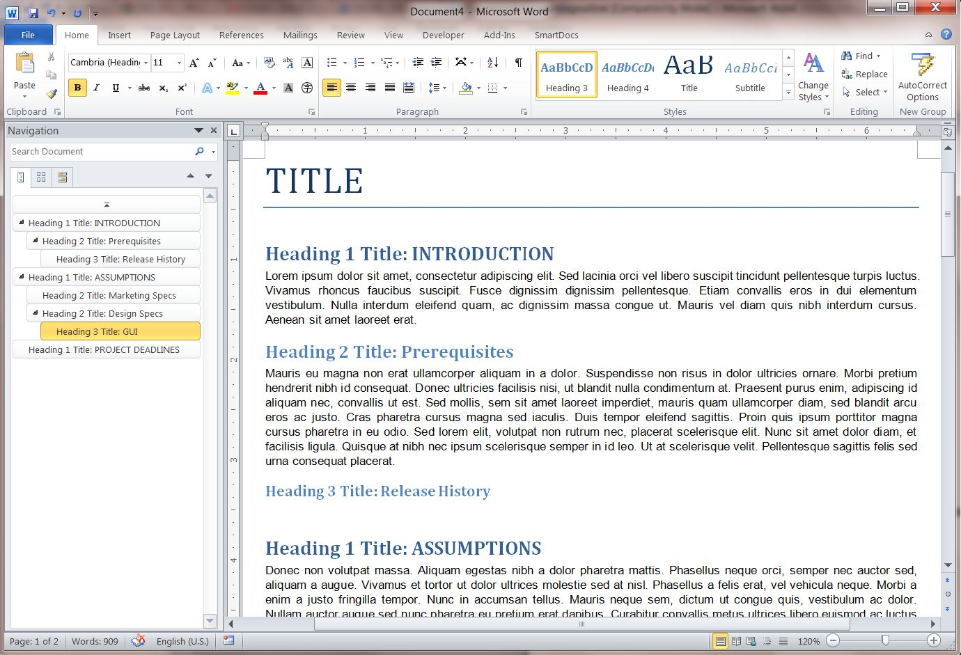 Document Navigation Sidebar in MS Word 2010