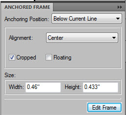 FrameMaker default anchored frame attributes