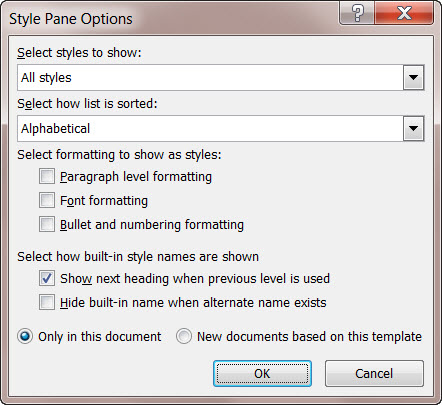 MS Word Style Pane Options