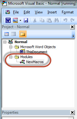 MS Word VBA Modules List