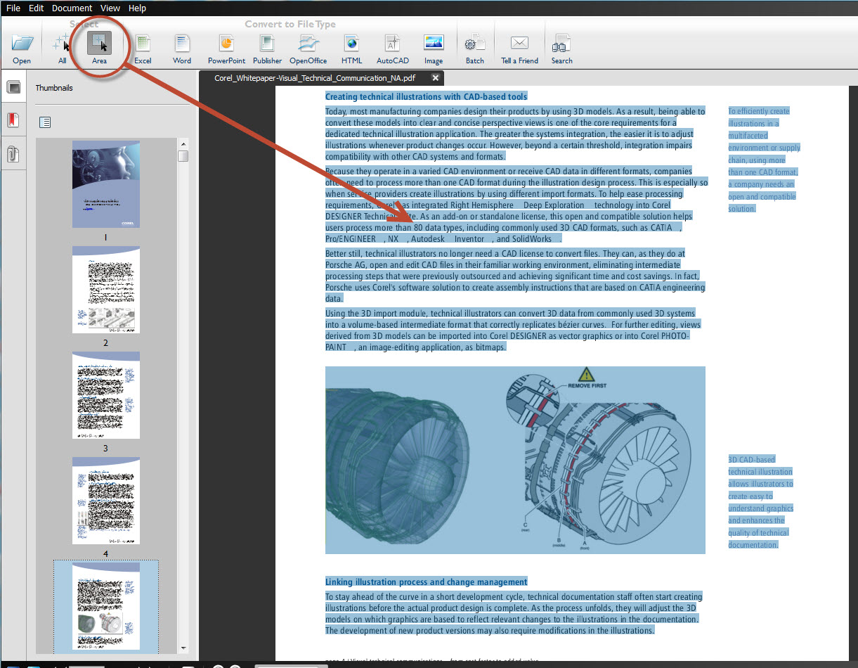 How to COnvert from PDF to Word format Able2Extract9_COREL2