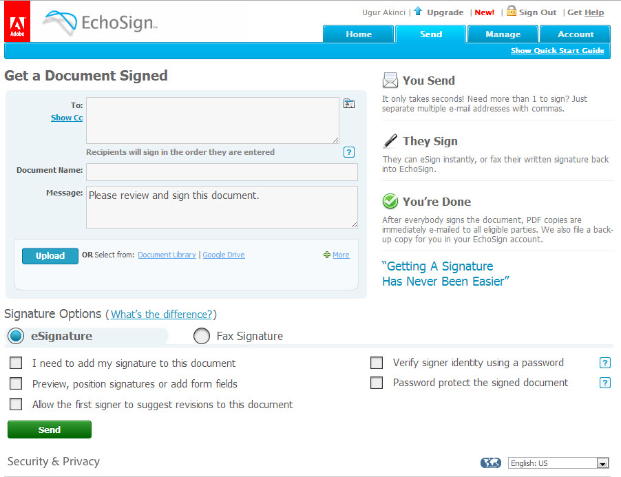 Acrobat Tool 5 Echosign (2) Get a Document Signed