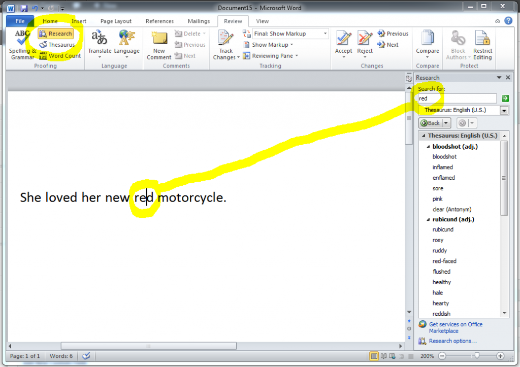 MS Word 2010 Research Task Bar 1