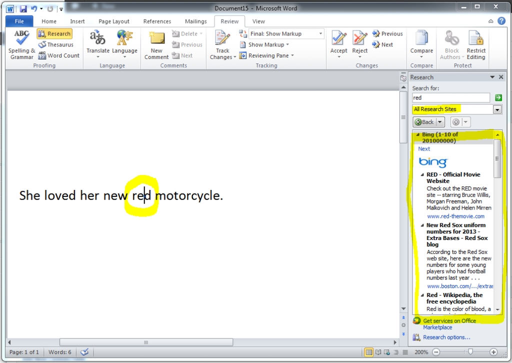 MS Word 2010 Research Task Bar 2