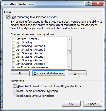 MS Word 2010 Restrict Formatting and Editing 2 Formatting Restrictions