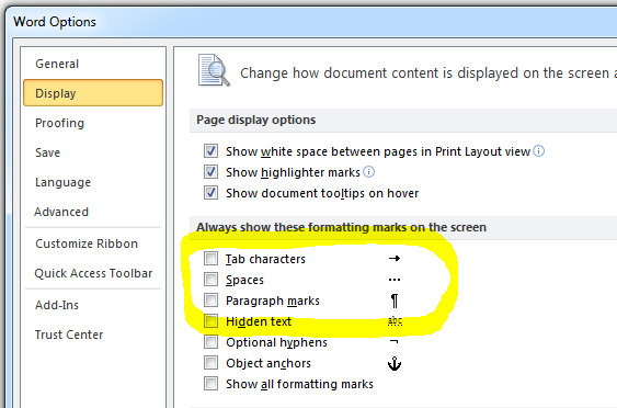 MS Word 2010 Tab Characters, Spaces, Paragraph Marks