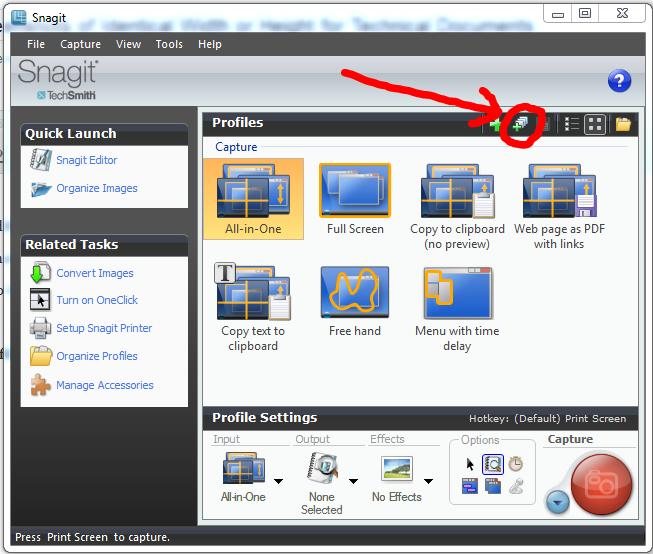 How to Capture Snagit10 Screenshots of Identical Width or Height for Technical Documents