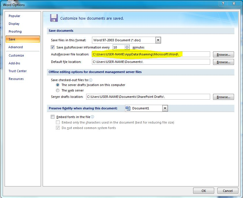 How to AutoRecover Unsaved Files in MS Word 2007 (1)
