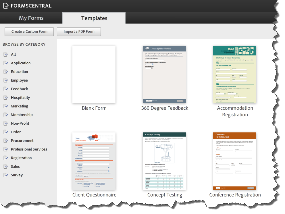 AdobeForms Central Templates