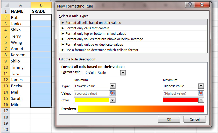 How to Color a Continuum of Values in a MS Excel Data Range 1