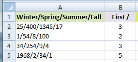How to Extract Text or Numbers from Character Delimited Cell Content in MS Excel 2