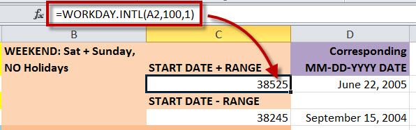 "How to Find the Workday a Specific No of Days Before of After a ""Start Date"" in MS Excel by using WORKDAY.INTL Function 1"
