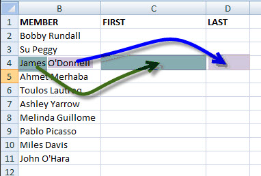 How to Parse and Extract First and Last Names from a MS Excel Text String
