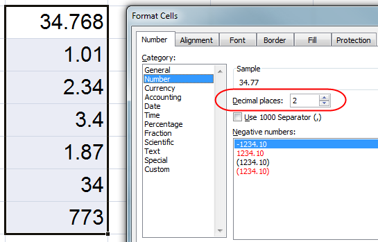 MS Excel Uncentered Numbers 2