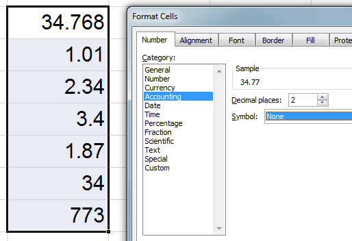 MS Excel Uncentered Numbers 3