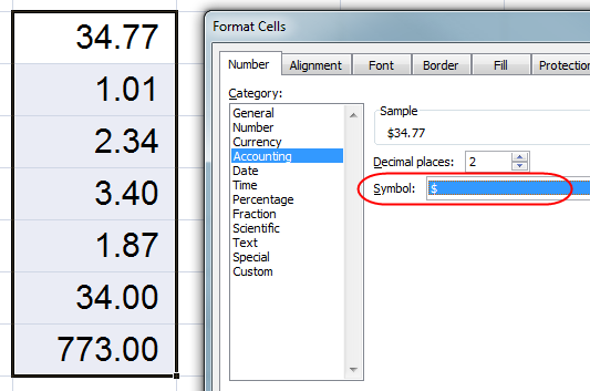 MS Excel Uncentered Numbers 5