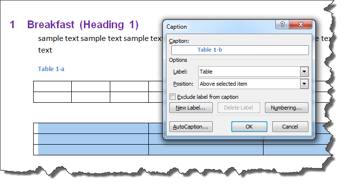 MS Word Multilevel Numbering Of TABLES 4
