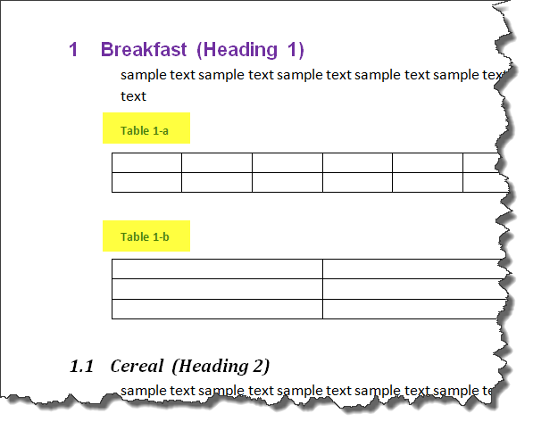 MS Word Multilevel Numbering of TABLES 5