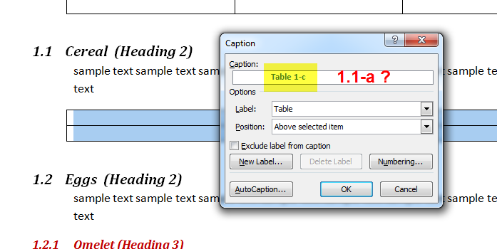 MS Word Multilevel Numbering of TABLES 6
