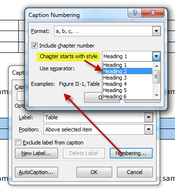 MS Word Multilevel Numbering of TABLES 7