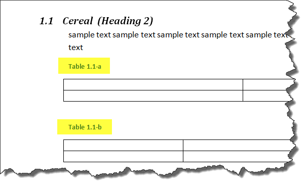 MS Word Multilevel Numbering of TABLES 8