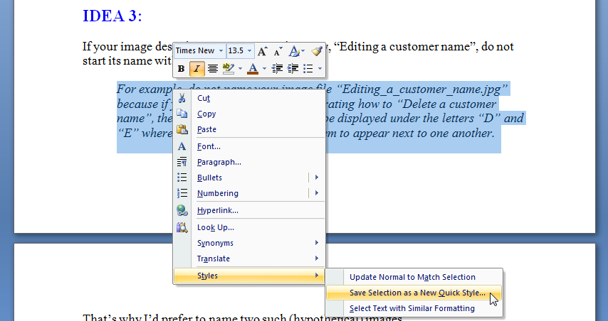 MS Word New Paragraph Style Out of Text 3