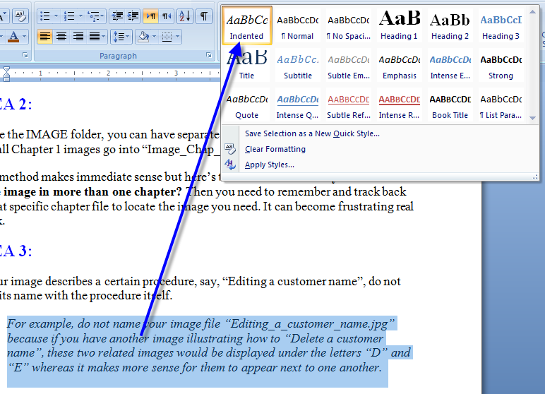 MS Word New Paragraph Style Out of Text 5 Create New Style from Formatting