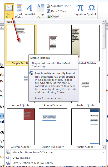 MS Word Pull-Out Quotes Insert Text Box 2